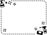 除菌スプレーやハンドソープの白黒点線フレーム飾り枠イラスト