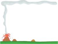 災害/火山・噴火の上下フレーム飾り枠イラスト