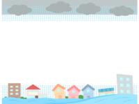災害/洪水・水害の上下フレーム飾り枠イラスト