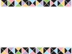 幾何学模様/三角四角(黒・パステル)の上下フレーム飾り枠イラスト