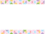 幾何学模様/三角四角(ピンク色系)の上下フレーム飾り枠イラスト