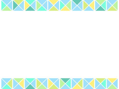 幾何学模様/三角四角(寒色系)の上下フレーム飾り枠イラスト