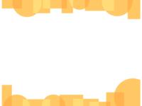 幾何学模様/丸と四角(黄色)の上下フレーム飾り枠イラスト