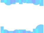 幾何学模様/丸と四角(青色)の上下フレーム飾り枠イラスト