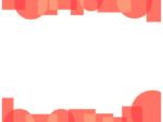 幾何学模様/丸と四角(朱色)の上下フレーム飾り枠イラスト