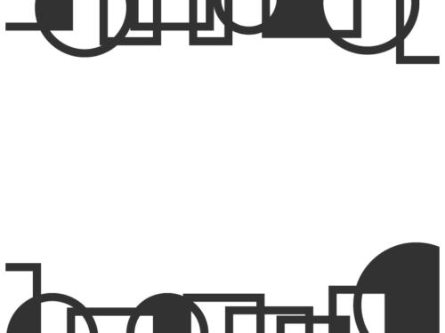 幾何学模様/線の丸と四角(黒色)の上下フレーム飾り枠イラスト