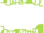 幾何学模様/線の丸と四角(黄緑色)の上下フレーム飾り枠イラスト