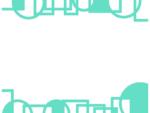 幾何学模様/線の丸と四角(ミント色)の上下フレーム飾り枠イラスト