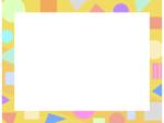 幾何学模様/丸三角四角(黄色)のフレーム飾り枠イラスト