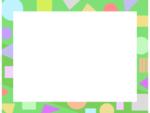 幾何学模様/丸三角四角(黄緑色)のフレーム飾り枠イラスト