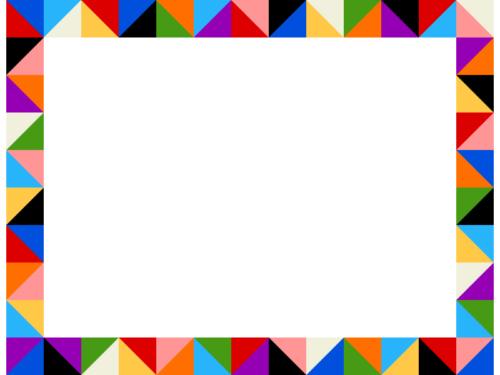 幾何学模様/鮮やかなカラーの三角四角の囲みフレーム飾り枠イラスト