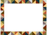 幾何学模様/アースカラーの三角四角の囲みフレーム飾り枠イラスト