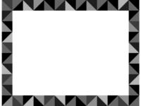 幾何学模様/白黒の三角四角の囲みフレーム飾り枠イラスト