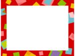 幾何学模様/四角を散りばめた赤色フレーム飾り枠イラスト