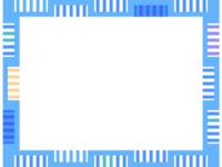 幾何学模様/しましま四角の水色フレーム飾り枠イラスト