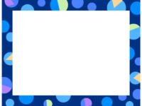 幾何学模様/いろいろな丸の青色フレーム飾り枠イラスト