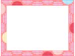 幾何学模様/ダイヤ柄の丸のピンク色フレーム飾り枠イラスト