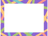 幾何学模様/カラフルなランダムの線の紫色フレーム飾り枠イラスト