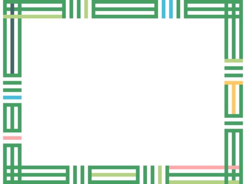幾何学模様/組み合わせた線の緑色フレーム飾り枠イラスト