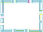 幾何学模様/組み合わせた線の水色フレーム飾り枠イラスト