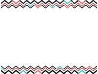 幾何学模様/ギザギザ(黒・茶・水色)の上下フレーム飾り枠イラスト