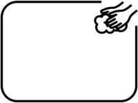 シンプルな手洗いの白黒フレーム飾り枠イラスト