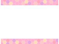 ハニカム模様(ピンク色系)上下フレーム飾り枠イラスト