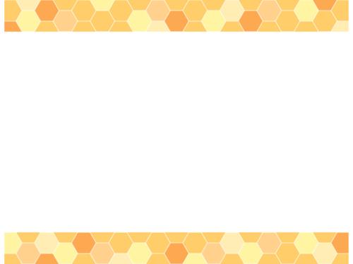 ハニカム模様(黄色系)上下フレーム飾り枠イラスト