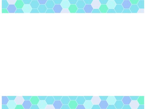 ハニカム模様(水色系)上下フレーム飾り枠イラスト