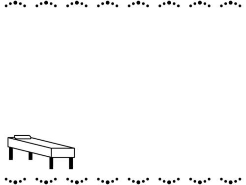 病院・診察台(診察ベッド)の白黒上下フレーム飾り枠イラスト
