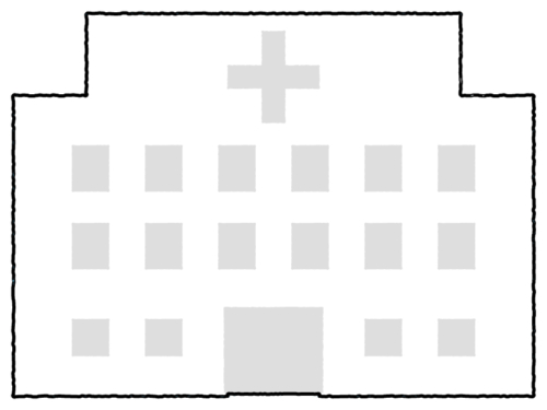 病院の形の白黒フレーム飾り枠イラスト