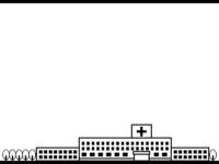 病院の白黒上下フレーム飾り枠イラスト