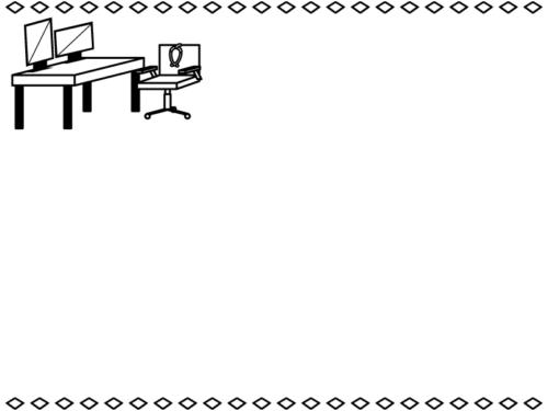 病院・診察室の白黒上下フレーム飾り枠イラスト