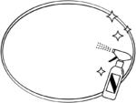 除菌スプレーの白黒楕円フレーム飾り枠イラスト