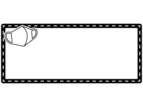 マスクの白黒点線横長フレーム飾り枠イラスト