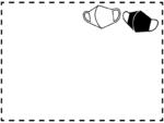 2個のマスクの白黒点線フレーム飾り枠イラスト