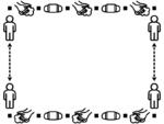 手洗い/マスク/ソーシャルディスタンスの白黒フレーム飾り枠イラスト