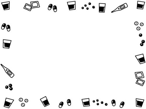 飲み薬や体温計の白黒囲みフレーム飾り枠イラスト