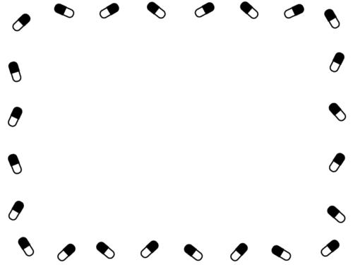シンプルなカプセルの薬の白黒囲みフレーム飾り枠イラスト