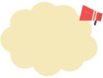 赤いメガホンの黄色もこもこフレーム飾り枠イラスト