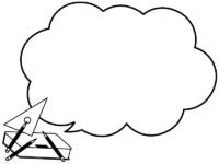鉛筆・筆箱・三角定規の白黒もこもこフレーム飾り枠イラスト