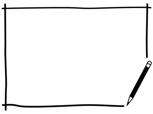 鉛筆の白黒手書き風四角フレーム飾り枠イラスト