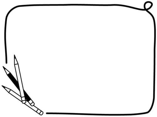 3本の鉛筆の白黒の手書き風フレーム飾り枠イラスト