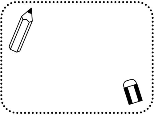鉛筆と消しゴムの白黒点線フレーム飾り枠イラスト