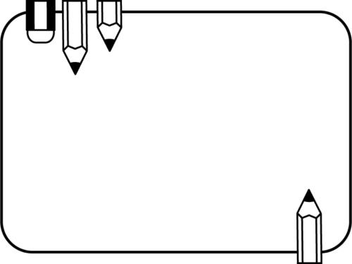 鉛筆と消しゴムの白黒角丸フレーム飾り枠イラスト
