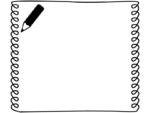 鉛筆のクルクル四角の白黒手書き風フレーム飾り枠イラスト
