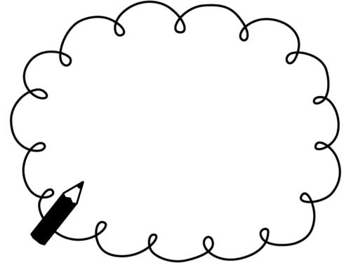 鉛筆のクルクル楕円形の白黒手書き風フレーム飾り枠イラスト