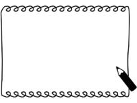 鉛筆のクルクル長方形の白黒手書き風フレーム飾り枠イラスト