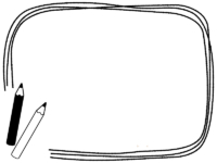 2本の鉛筆の白黒手書き風フレーム飾り枠イラスト
