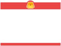 リュックサックの赤色上下フレーム飾り枠イラスト